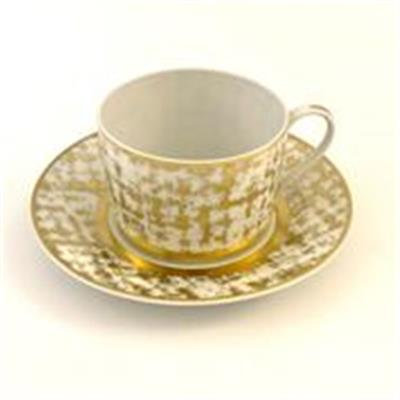 Tweed White & Gold - Tasse et Soucoupe Thé